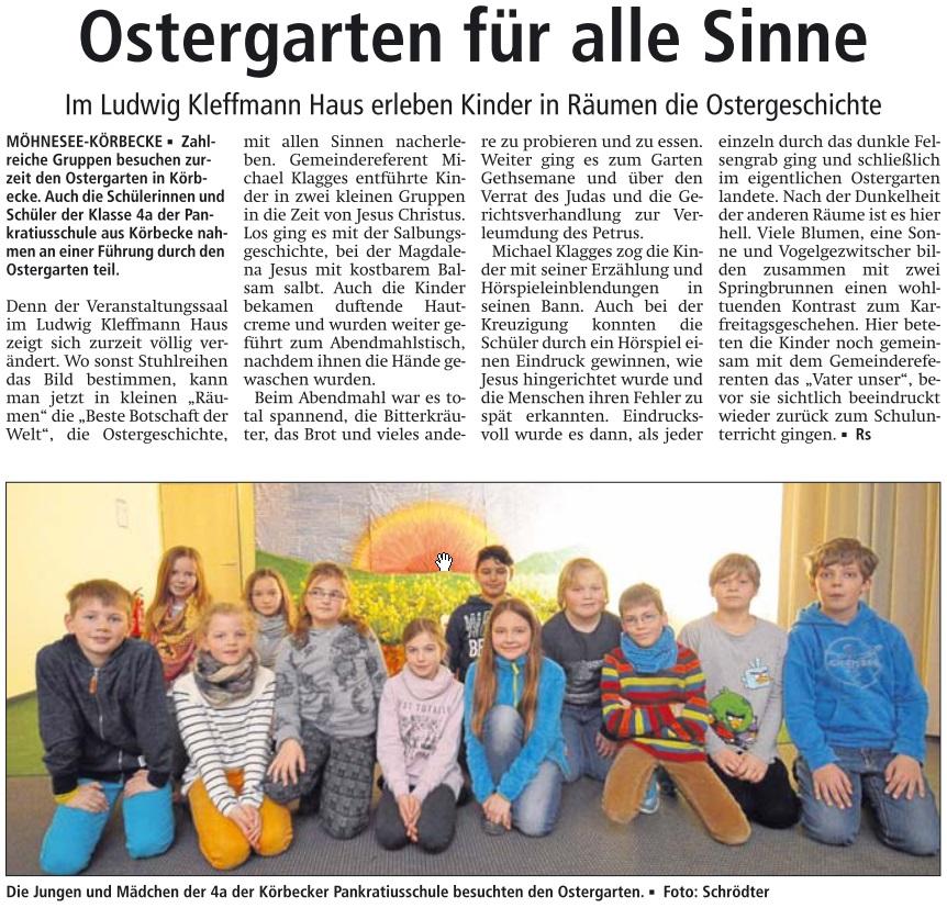 Zeitungsbericht Ostergarten